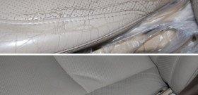 На фото - винилкожа салона автомобиля до и после реставрации, kiev.all.biz