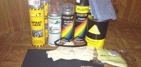 На фото - инструменты для покраски бампера своими руками, drive2.ru