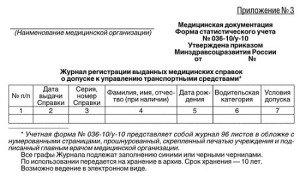 Фото учетной формы 036-10/у-10 медицинской справки водителя, получисправку.рф