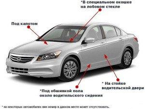 На фото - места расположения VIN кода автомобиля, vincarfax.ru
