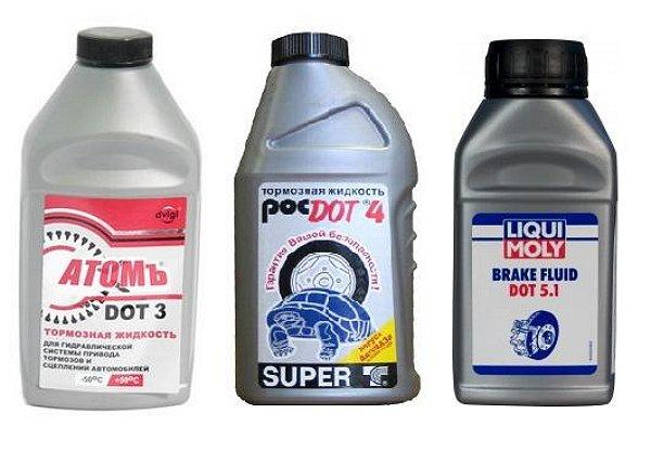 На фото - тормозные жидкости на полимерах