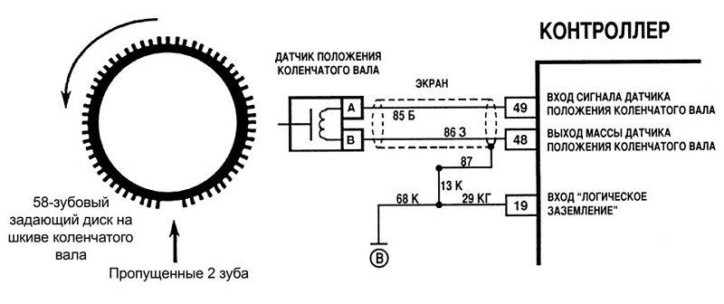 Фото схемы подключения датчика положения распредвала