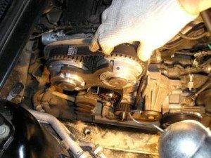 На фото - монтаж нового ремня ГРМ Ford Focus-2, nazcar.ru
