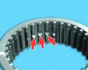 Фото повреждения торцов зубьев синхронизаторов, autoprospect.ru