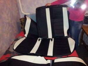 На фото - готовые кожаные чехлы на сиденья авто, kiario4.ru