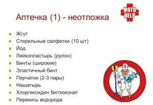На фото - список лекарств для аптечки автомобилиста, myshared.ru