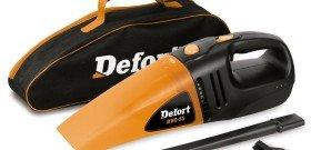 На фото - автомобильный пылесос с сумкой, defort-tools.de