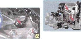 На фото - место установки датчика детонации двигателя, a-car-library.ru
