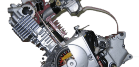 На фото - мотор мопеда с рабочим циклом двухтактного двигателя, engine-power.ru
