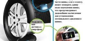 На фото - установка датчика давления в шинах, zap-online.ru