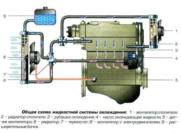 Фото схемы системы охлаждения,
