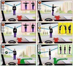 На фото показаны сигналы светофора и регулировкщика, vashamashina.ru