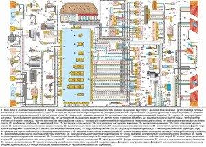 На фото - электросхема авто из большого количества элементов, vaz-2115i.ru