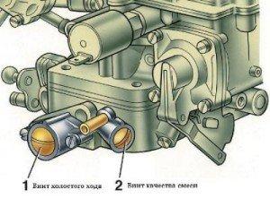 На фото - винты регулировки карбюратора ВАЗ 2105, solex-ozon.ru