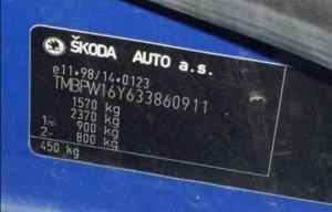 Фото VIN номера автомобиля Skoda, kubelka.hyperlink.cz