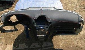 На фото - выкройка для перетяжки панели авто, drive2.ru