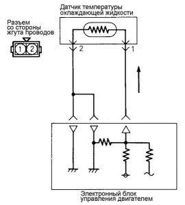 Фото схемы работы датчика температуры охлаждающей жидкости, lancermitsubishi.ru