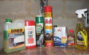 На фото - чистящие средства для химчистки салона, k-belevich15.land.ru