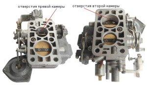 На фото - дроссельные заслонки поплавковых камер карбюратора ВАЗ 2107, twokarburators.ru