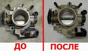 На фото - чистка заслонки автомобиля ВАЗ 2114, vaz-remont.ru