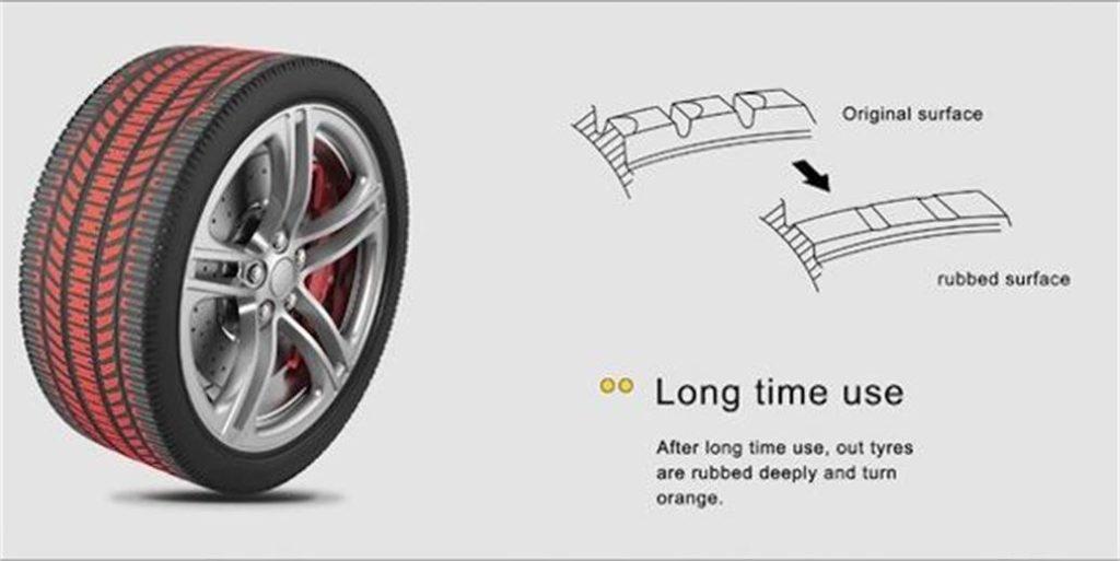 Изменение цвета шины при износе