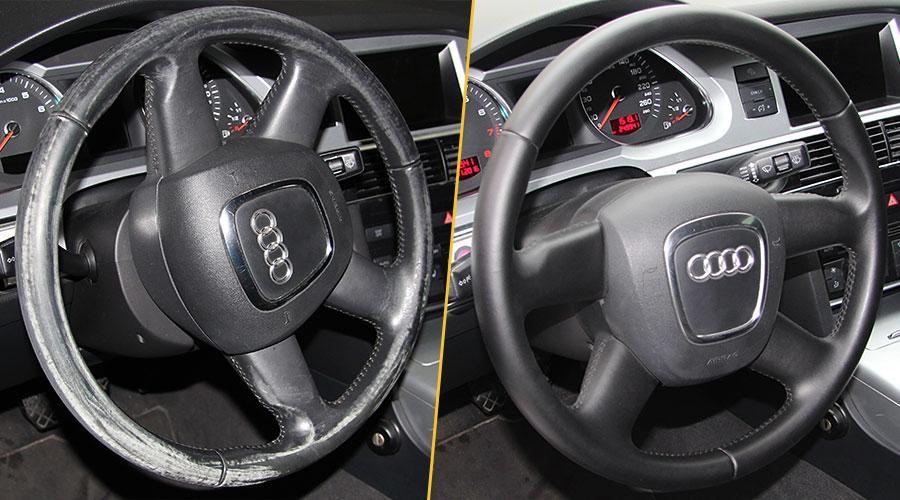 руль до и после реставрации