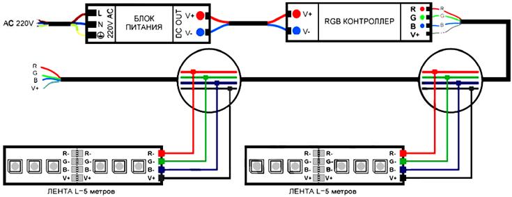 Схема подключения для многоцветной ленты