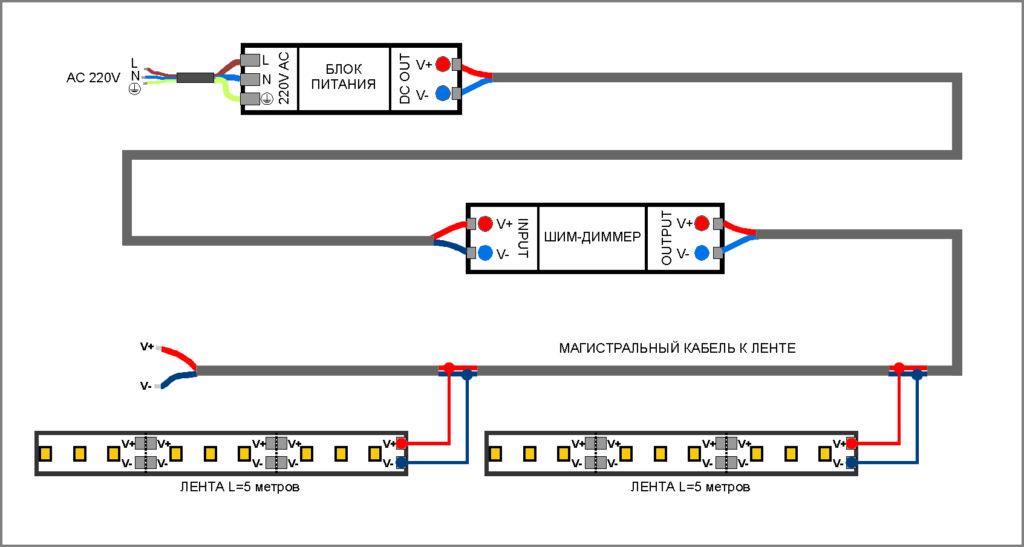 Схема подключения для одноцветной ленты