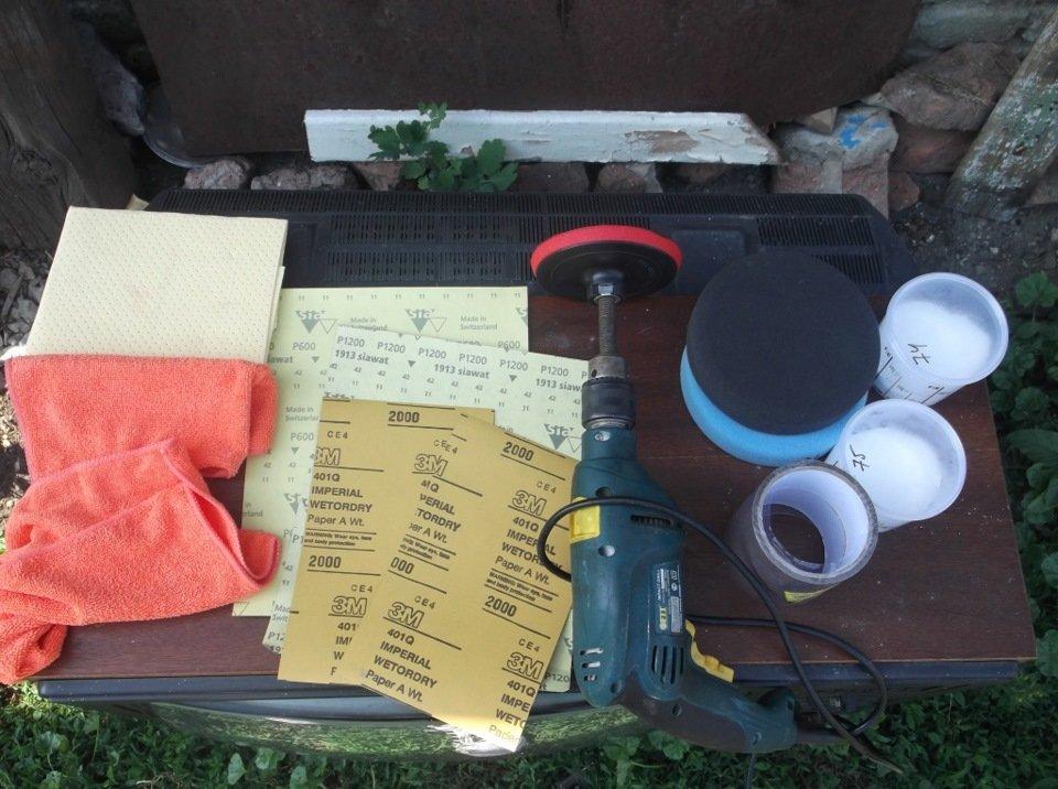 Материалы и инструменты для полировки фар