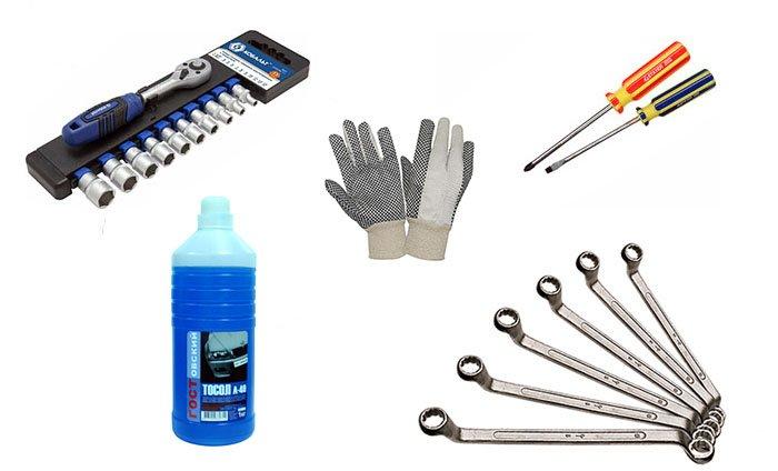 Инструменты для замены помпы