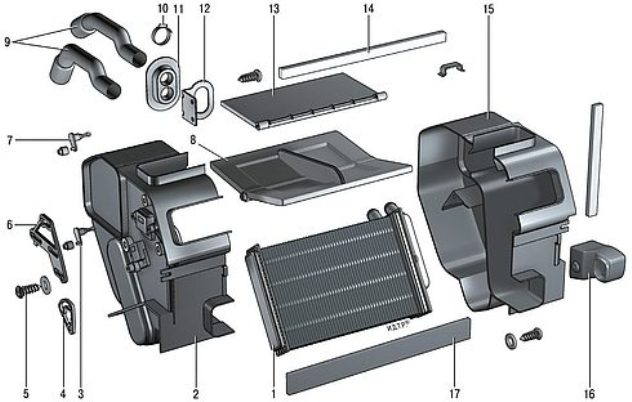 Схема разборки печки в автомобиле