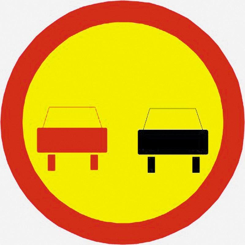 Временный дорожный знак Обгон запрещен