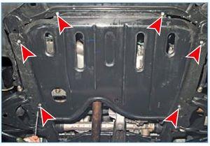 Болты крепления защиты двигателя