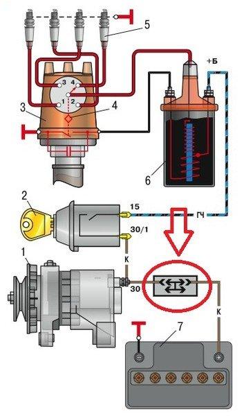 Схема контактного зажигания
