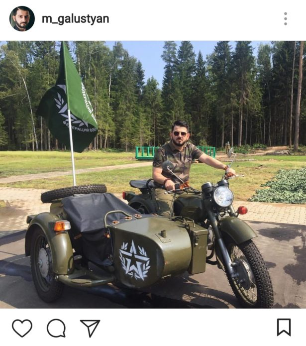Галустян на мотоцикле